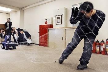 'Intruder' captured by web-slinging robot