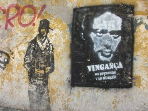 "Welcome to Sao Paulo! (""REVENGE - Intruders will die"" says the graffiti)"