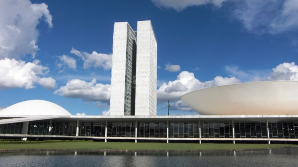 The parliamentary buildings in Brasilia, originally laid out by Lucio Costa. The Camara dos Depuados, by Oscar Niemeyer, is to the left.