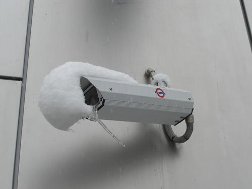 They can see through snow, you know. London CCTV camera (by Almost Wiity on boingboing)