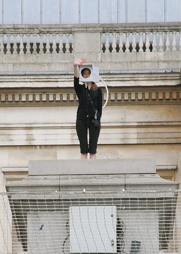 CCTV plinth protest