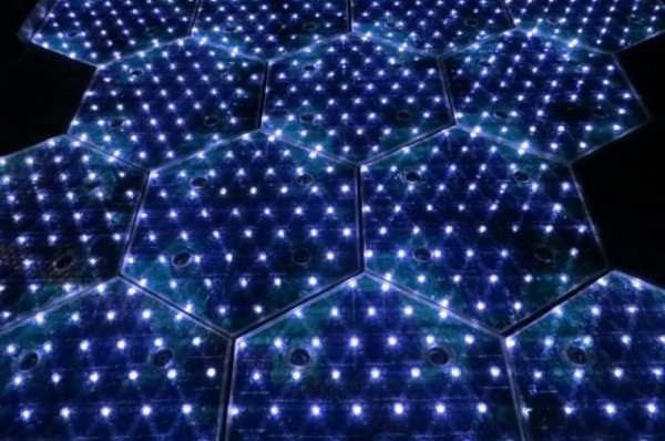 Solar road tiles lit up with LEDs